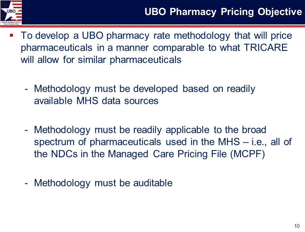  To develop a UBO pharmacy rate methodology that will price pharmaceuticals in a manner comparable to what TRICARE will allow for similar pharmaceuticals -Methodology must be developed based on readily available MHS data sources -Methodology must be readily applicable to the broad spectrum of pharmaceuticals used in the MHS – i.e., all of the NDCs in the Managed Care Pricing File (MCPF) -Methodology must be auditable 10 UBO Pharmacy Pricing Objective
