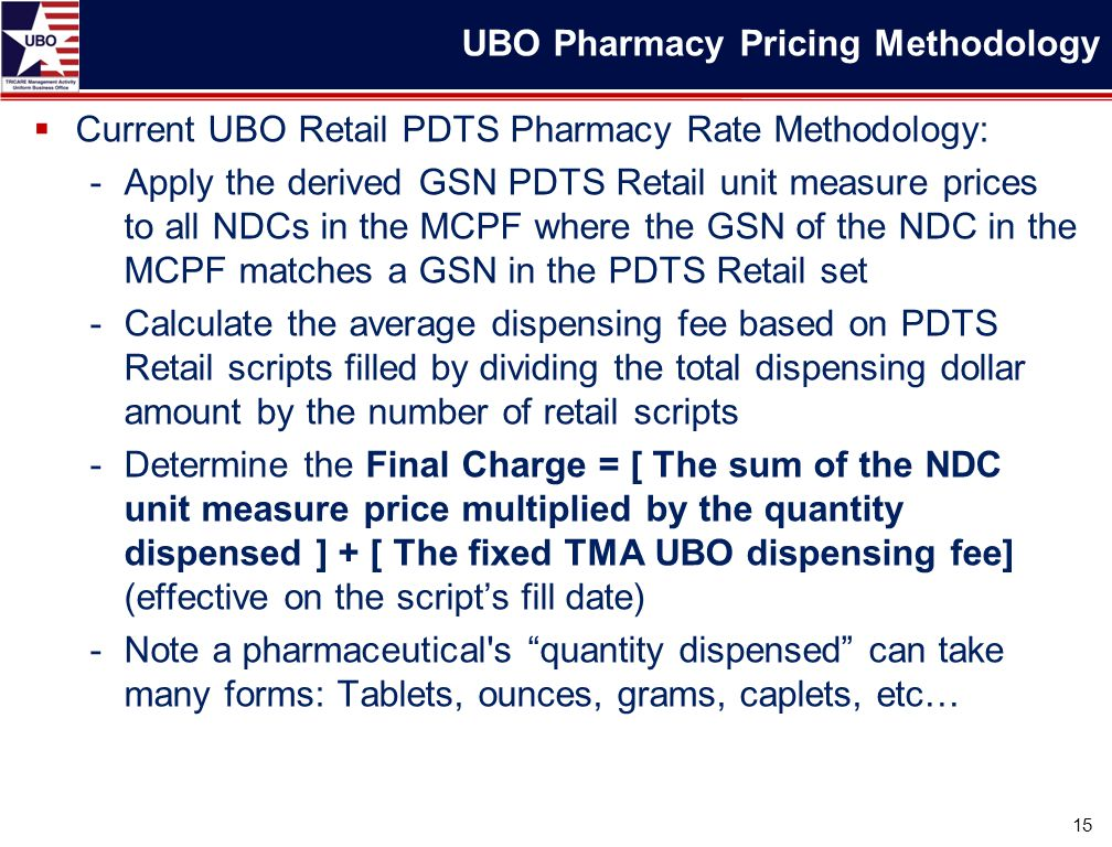 Current UBO Retail PDTS Pharmacy Rate Methodology: -Apply the derived GSN PDTS Retail unit measure prices to all NDCs in the MCPF where the GSN of t