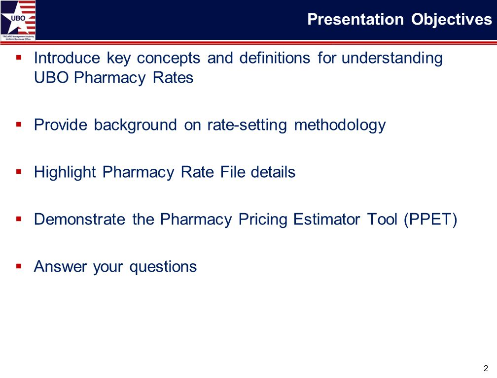  Introduce key concepts and definitions for understanding UBO Pharmacy Rates  Provide background on rate-setting methodology  Highlight Pharmacy Rate File details  Demonstrate the Pharmacy Pricing Estimator Tool (PPET)  Answer your questions 2 Presentation Objectives