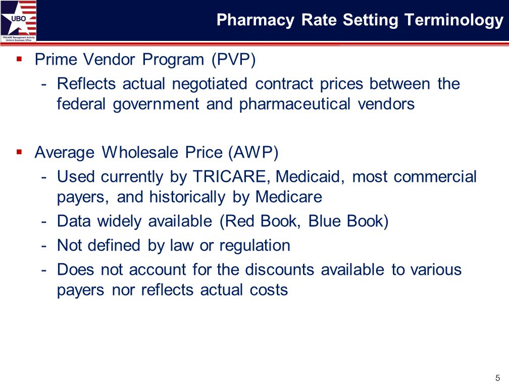 Prime Vendor Program (PVP) -Reflects actual negotiated contract prices between the federal government and pharmaceutical vendors  Average Wholesale Price (AWP) -Used currently by TRICARE, Medicaid, most commercial payers, and historically by Medicare -Data widely available (Red Book, Blue Book) -Not defined by law or regulation -Does not account for the discounts available to various payers nor reflects actual costs 5 Pharmacy Rate Setting Terminology