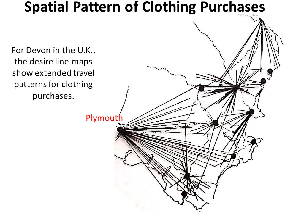 For Devon in the U.K., the desire line maps show extended travel patterns for clothing purchases.