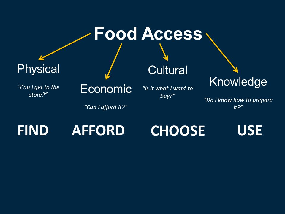 FINDAFFORD CHOOSE USE Food Access Physical Can I get to the store? Economic Can I afford it? Cultural Is it what I want to buy? Knowledge Do I know how to prepare it?
