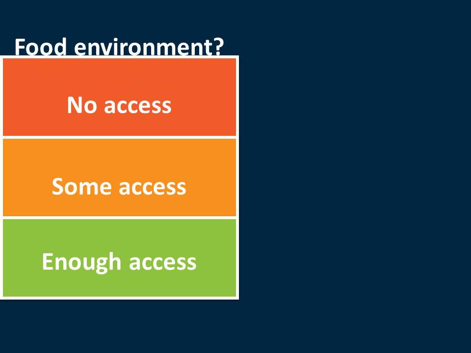 No access Some access Enough access Food environment