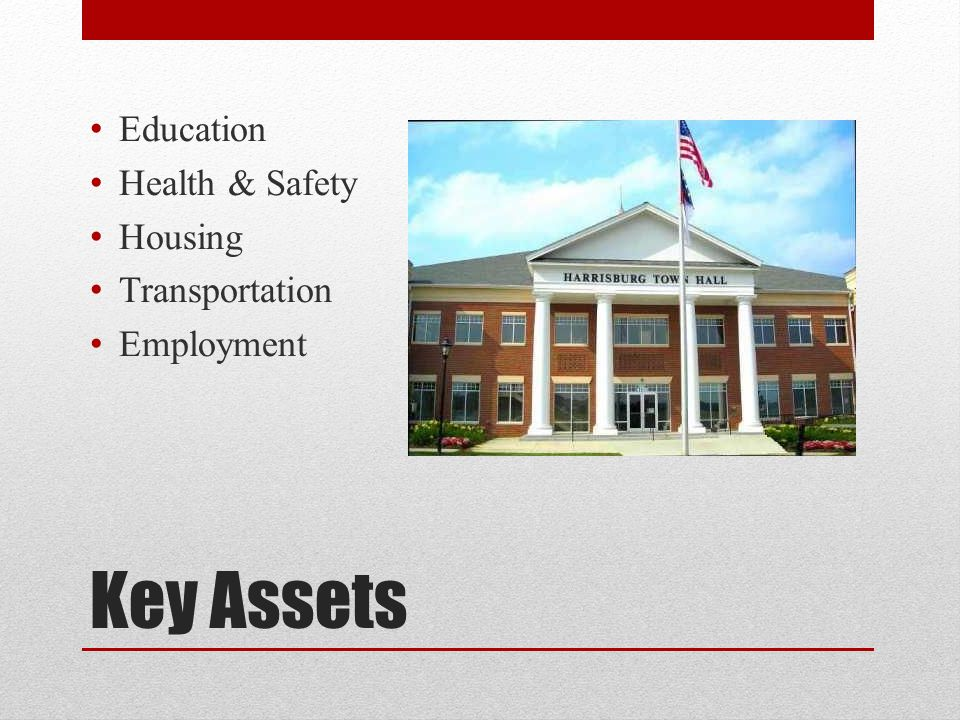Key Assets Education Health & Safety Housing Transportation Employment
