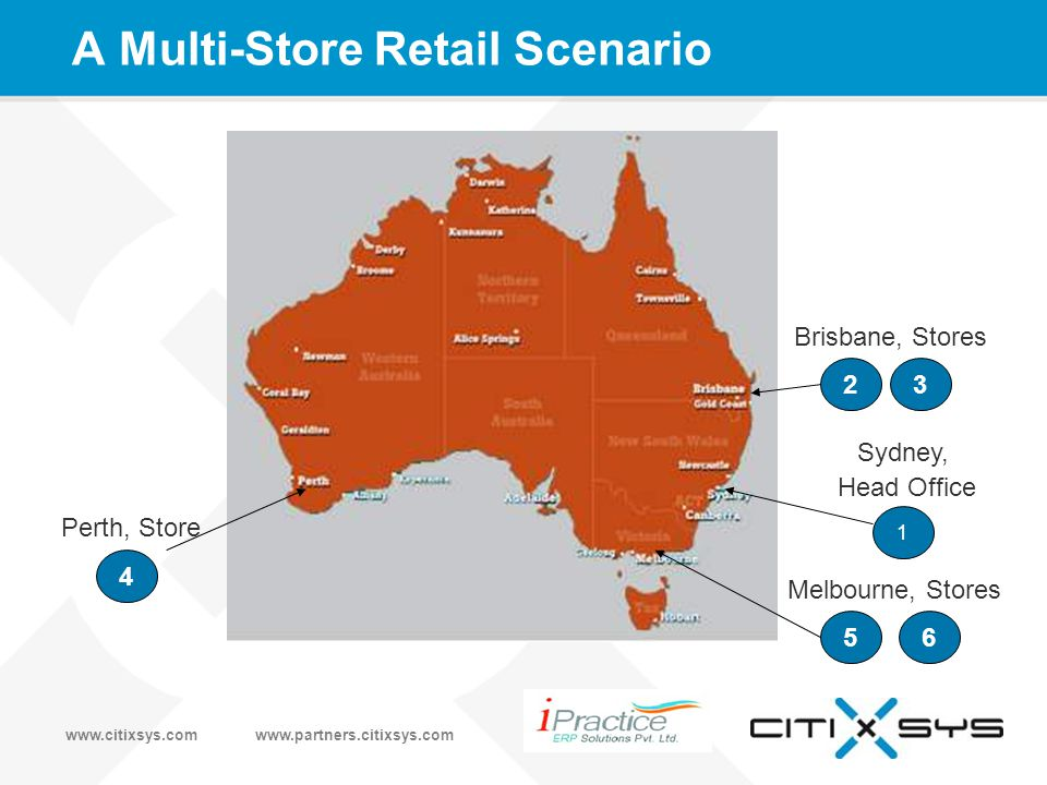 www.citixsys.comwww.partners.citixsys.com A Multi-Store Retail Scenario 1 Sydney, Head Office 4 Perth, Store 23 Brisbane, Stores 56 Melbourne, Stores