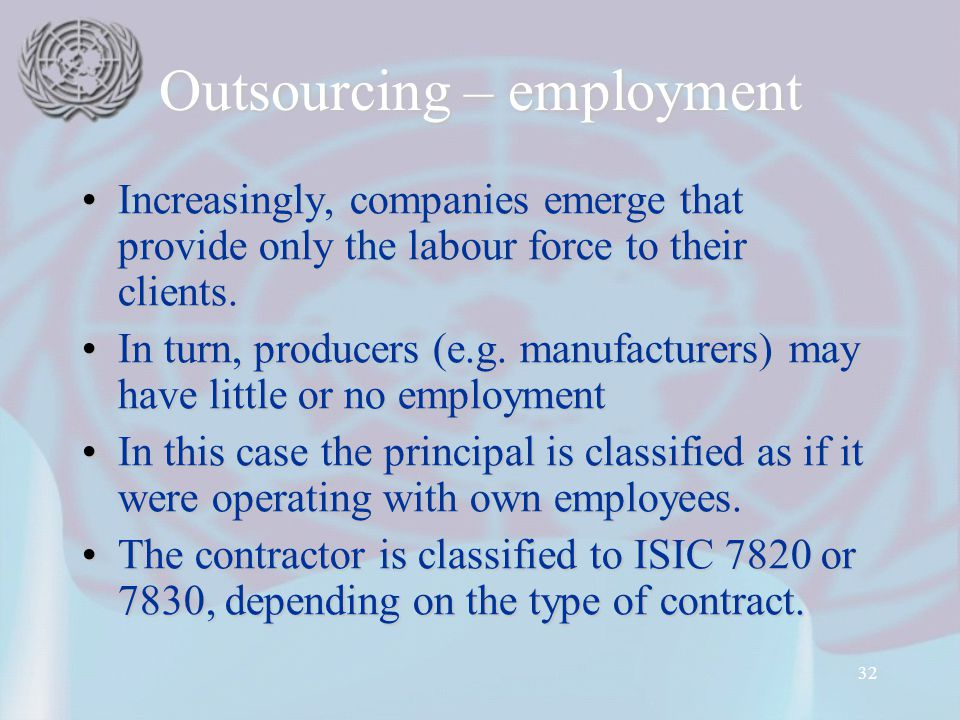 32 Outsourcing – employment Increasingly, companies emerge that provide only the labour force to their clients.Increasingly, companies emerge that pro