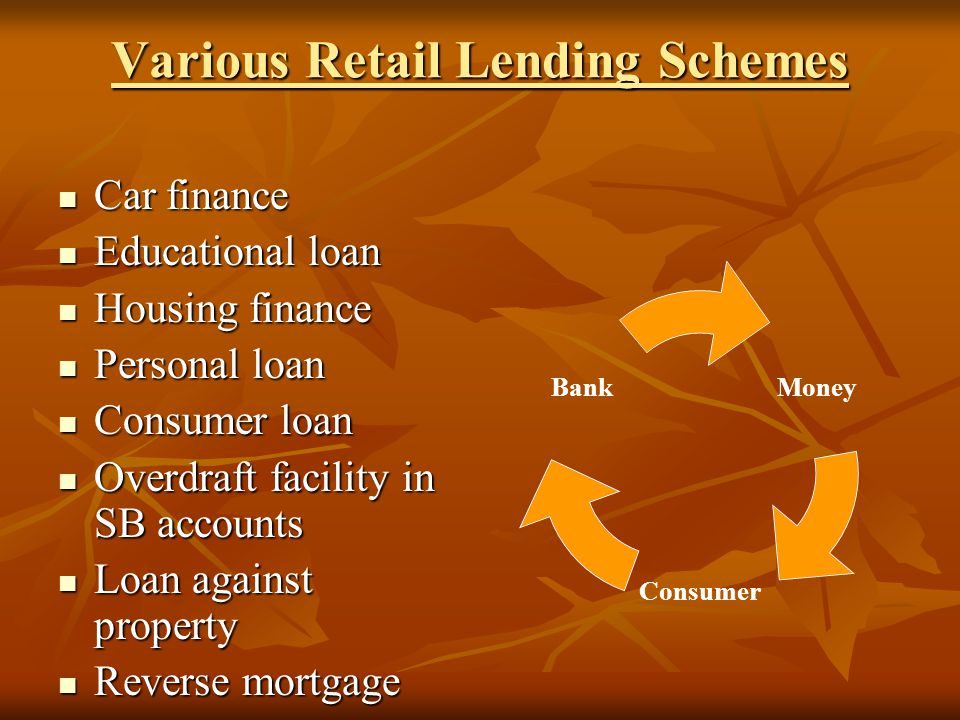 Various Retail Lending Schemes Car finance Car finance Educational loan Educational loan Housing finance Housing finance Personal loan Personal loan Consumer loan Consumer loan Overdraft facility in SB accounts Overdraft facility in SB accounts Loan against property Loan against property Reverse mortgage Reverse mortgage Money Consumer Bank