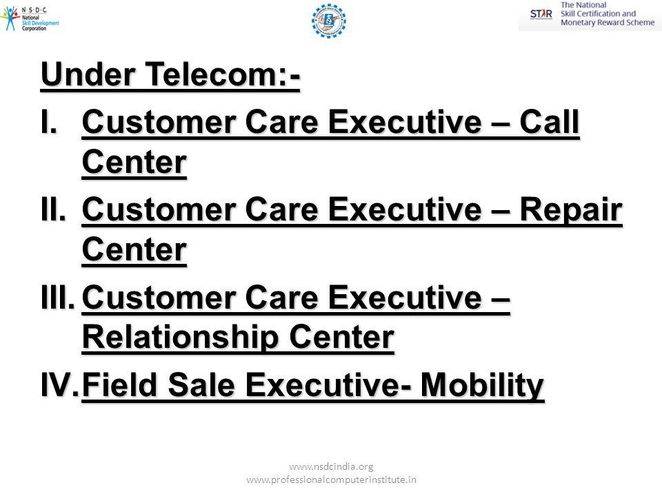 Under IT-ITS (NASSCOM):- I.Customer Care Executive – Voice - Domestic II.