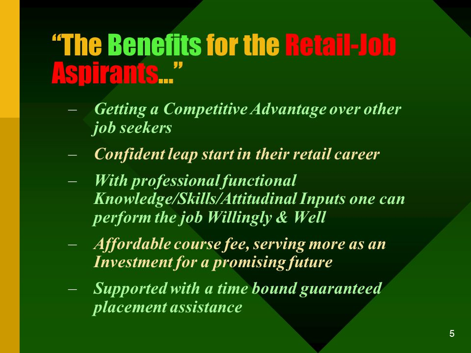 5 The Benefits for the Retail-Job Aspirants… –Getting a Competitive Advantage over other job seekers –Confident leap start in their retail career –With professional functional Knowledge/Skills/Attitudinal Inputs one can perform the job Willingly & Well –Affordable course fee, serving more as an Investment for a promising future –Supported with a time bound guaranteed placement assistance