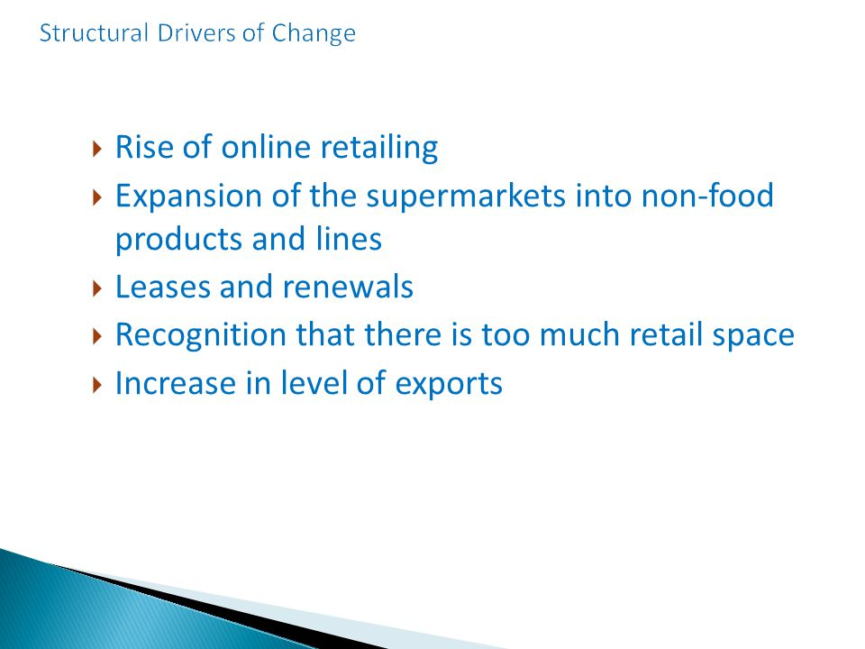  Rise of online retailing  Expansion of the supermarkets into non-food products and lines  Leases and renewals  Recognition that there is too much retail space  Increase in level of exports