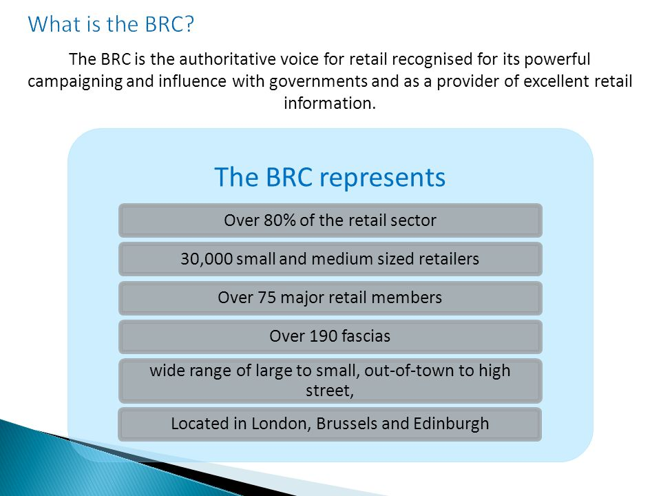 The BRC is the authoritative voice for retail recognised for its powerful campaigning and influence with governments and as a provider of excellent retail information.