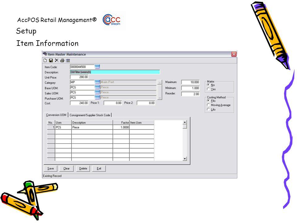 AccPOS Retail Management® Setup Item Information