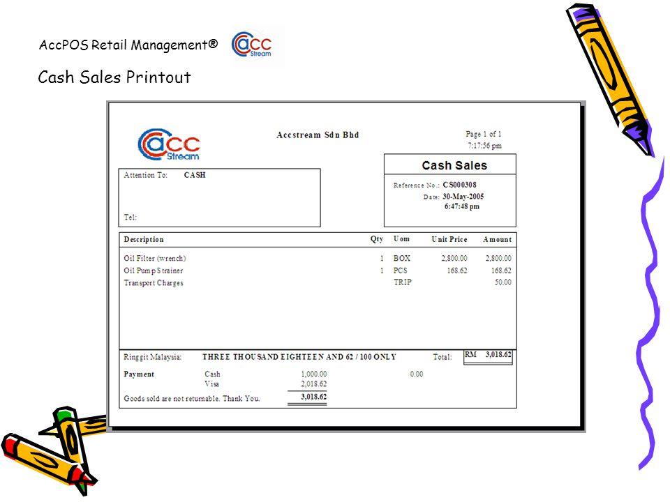 AccPOS Retail Management® Cash Sales Printout