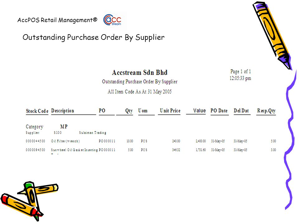 AccPOS Retail Management® Outstanding Purchase Order By Supplier