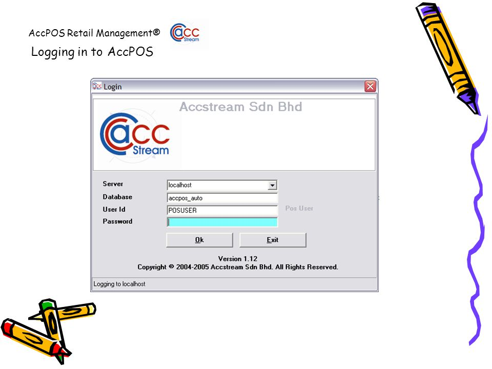 AccPOS Retail Management® Logging in to AccPOS