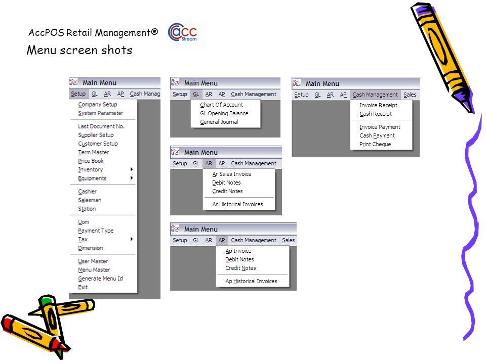 AccPOS Retail Management® Menu screen shots