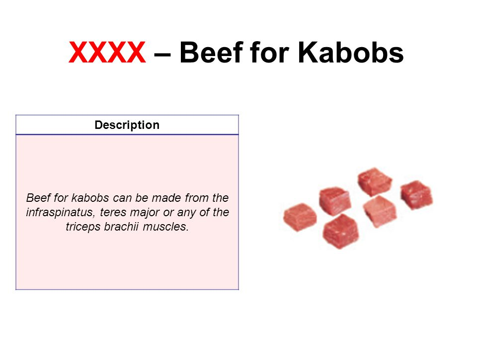 XXXX – Beef for Kabobs Description Beef for kabobs can be made from the infraspinatus, teres major or any of the triceps brachii muscles.