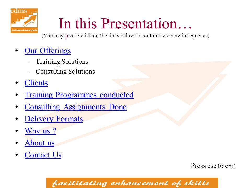Our Offerings (You may please click on the links below or continue viewing in sequence) Training Solutions Personal Effectiveness Functional Effectiveness Functional Knowledge Programmes Power Talks Knowledge Oriented deliveries Motivational talks Consulting Solutions Process Mapping and Documentation Preparation of Process Manuals (Standard Operating Procedures) Risk Management back