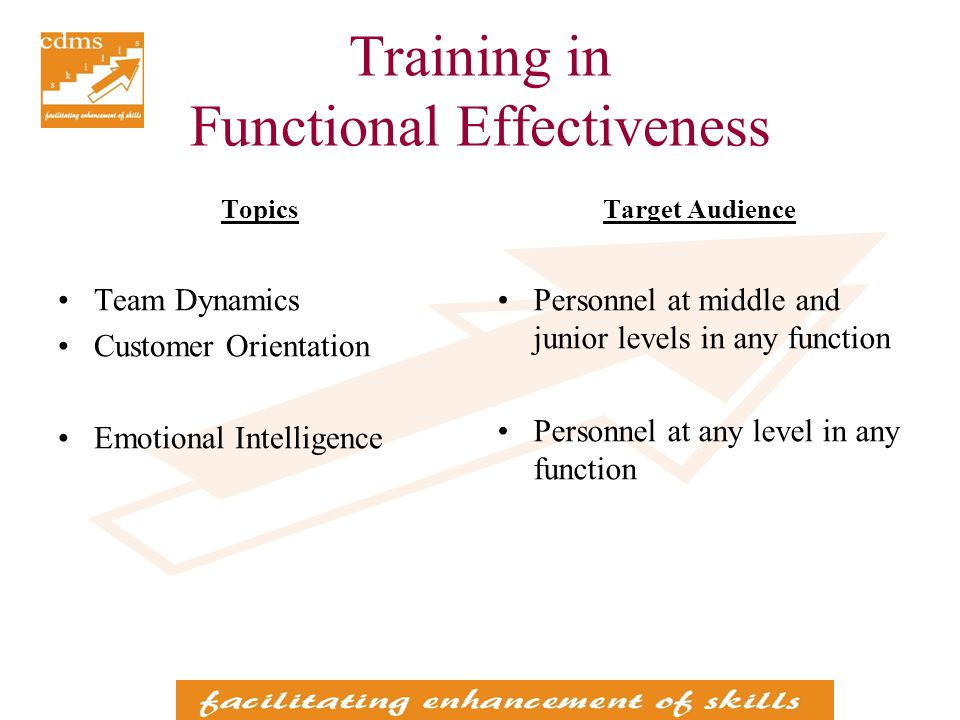 Training in Functional Effectiveness (contd.) Topics Retail Selling Skills Showroom Management Negotiation Skills Institutional Selling Skills Target Audience Personnel at middle and junior level in Retail Sales and Marketing Personnel at middle and junior level in Sales and Marketing Personnel at middle and junior level in Institutional Sales and Marketing