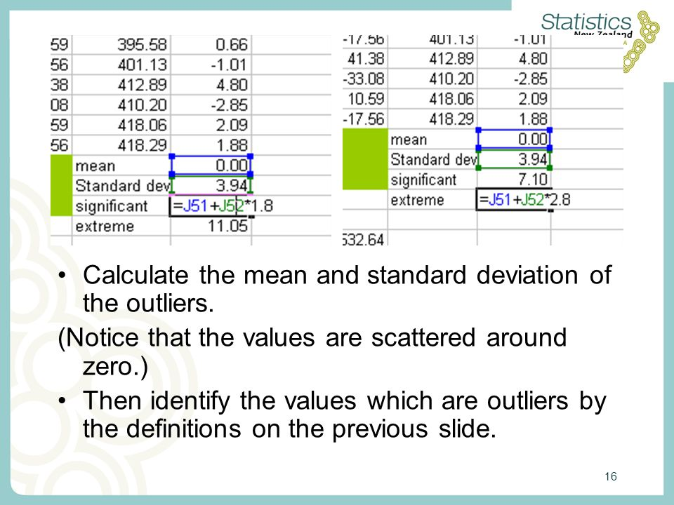 16 Calculate the mean and standard deviation of the outliers.