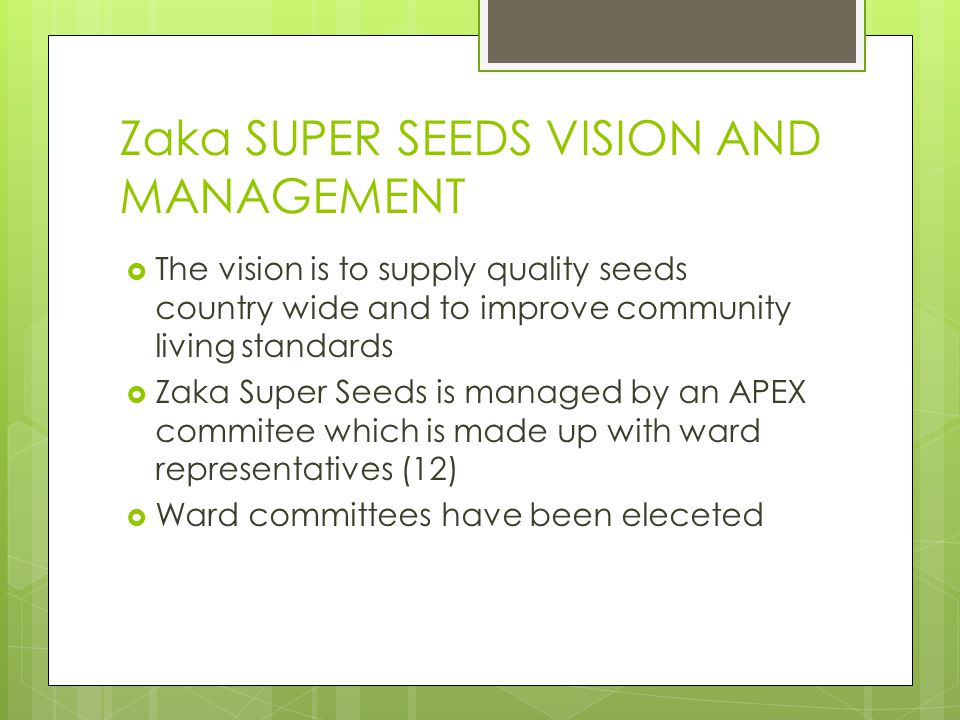 Zaka SUPER SEEDS VISION AND MANAGEMENT  The vision is to supply quality seeds country wide and to improve community living standards  Zaka Super See
