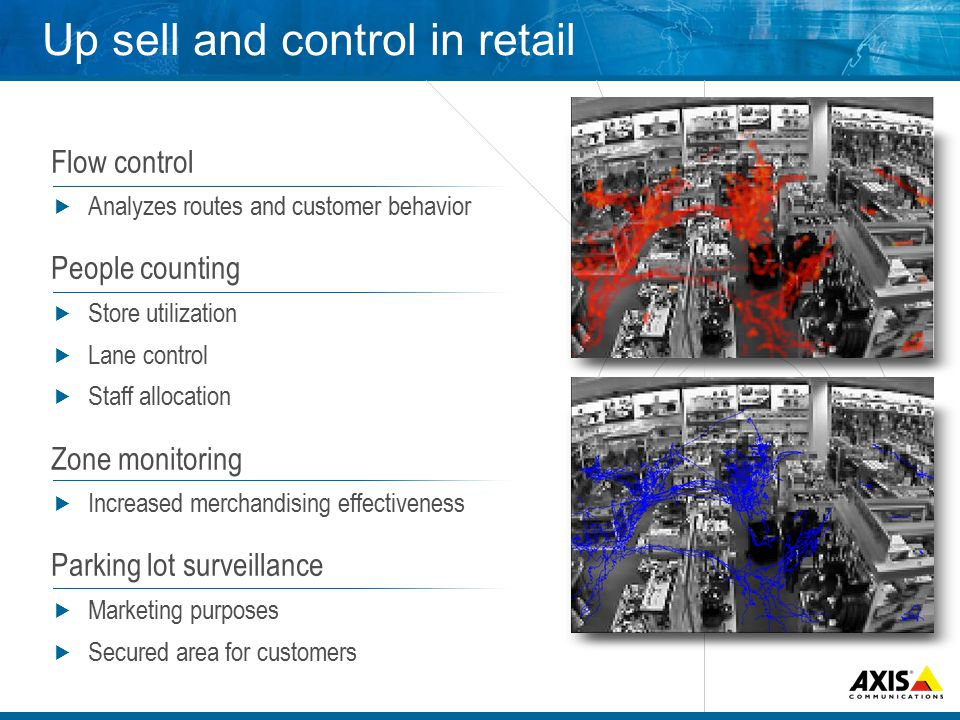 Up sell and control in retail Flow control  Analyzes routes and customer behavior People counting  Store utilization  Lane control  Staff allocation Zone monitoring  Increased merchandising effectiveness Parking lot surveillance  Marketing purposes  Secured area for customers