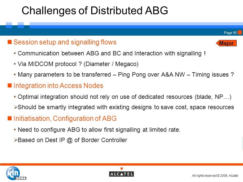All rights reserved © 2006, Alcatel Page 10 Challenges of Distributed ABG Session setup and signalling flows  Communication between ABG and BC and Interaction with signalling .