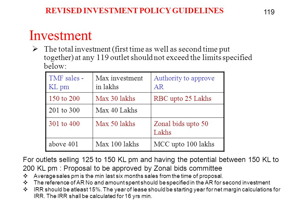Investment  The total investment (first time as well as second time put together) at any 119 outlet should not exceed the limits specified below: TMF