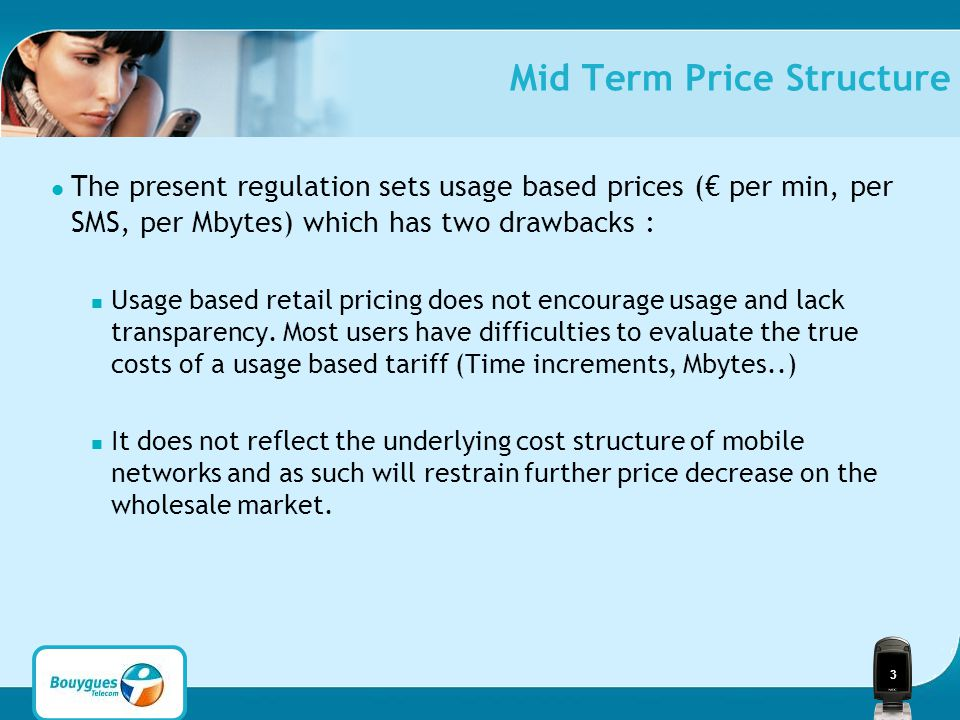 3 Mid Term Price Structure The present regulation sets usage based prices (€ per min, per SMS, per Mbytes) which has two drawbacks : Usage based retail pricing does not encourage usage and lack transparency.