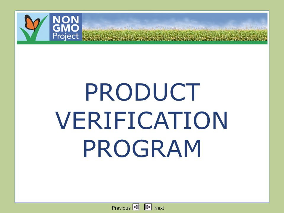 Title: Product Verification Program PRODUCT VERIFICATION PROGRAM Previous Next