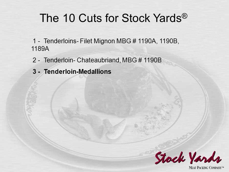 1 - Tenderloins- Filet Mignon MBG # 1190A, 1190B, 1189A 2 - Tenderloin- Chateaubriand, MBG # 1190B 3 - Tenderloin-Medallions The 10 Cuts for Stock Yards ®