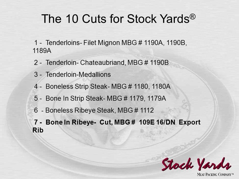 1 - Tenderloins- Filet Mignon MBG # 1190A, 1190B, 1189A 2 - Tenderloin- Chateaubriand, MBG # 1190B 3 - Tenderloin-Medallions 4 - Boneless Strip Steak- MBG # 1180, 1180A 5 - Bone In Strip Steak- MBG # 1179, 1179A 6 - Boneless Ribeye Steak, MBG # 1112 7 - Bone In Ribeye- Cut, MBG # 109E 16/DN Export Rib The 10 Cuts for Stock Yards ®