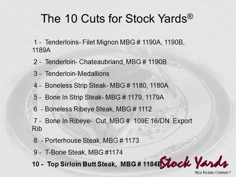 1 - Tenderloins- Filet Mignon MBG # 1190A, 1190B, 1189A 2 - Tenderloin- Chateaubriand, MBG # 1190B 3 - Tenderloin-Medallions 4 - Boneless Strip Steak- MBG # 1180, 1180A 5 - Bone In Strip Steak- MBG # 1179, 1179A 6 - Boneless Ribeye Steak, MBG # 1112 7 - Bone In Ribeye- Cut, MBG # 109E 16/DN Export Rib 8 - Porterhouse Steak, MBG # 1173 9 - T-Bone Steak, MBG #1174 10 - Top Sirloin Butt Steak, MBG # 1184B The 10 Cuts for Stock Yards ®