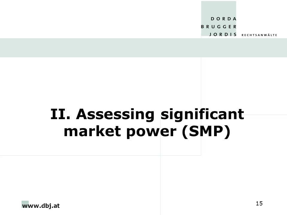 www.dbj.at 15 II. Assessing significant market power (SMP)