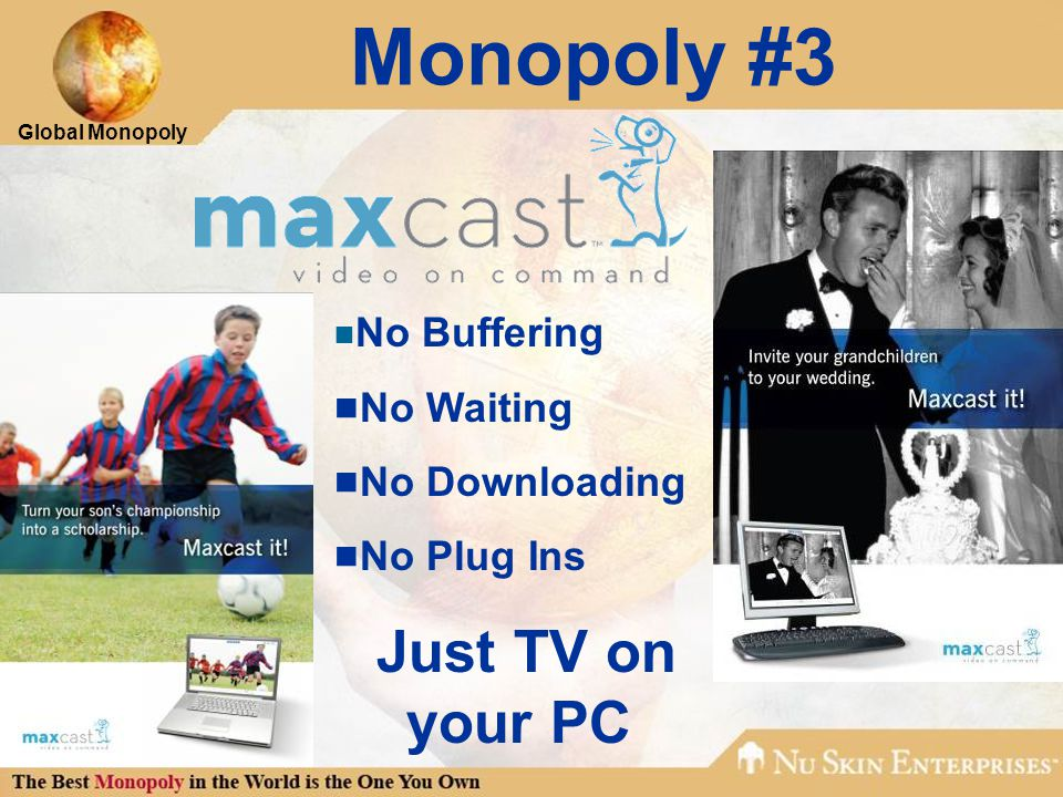 Global Monopoly Monopoly #3  No Buffering  No Waiting  No Downloading  No Plug Ins Just TV on your PC