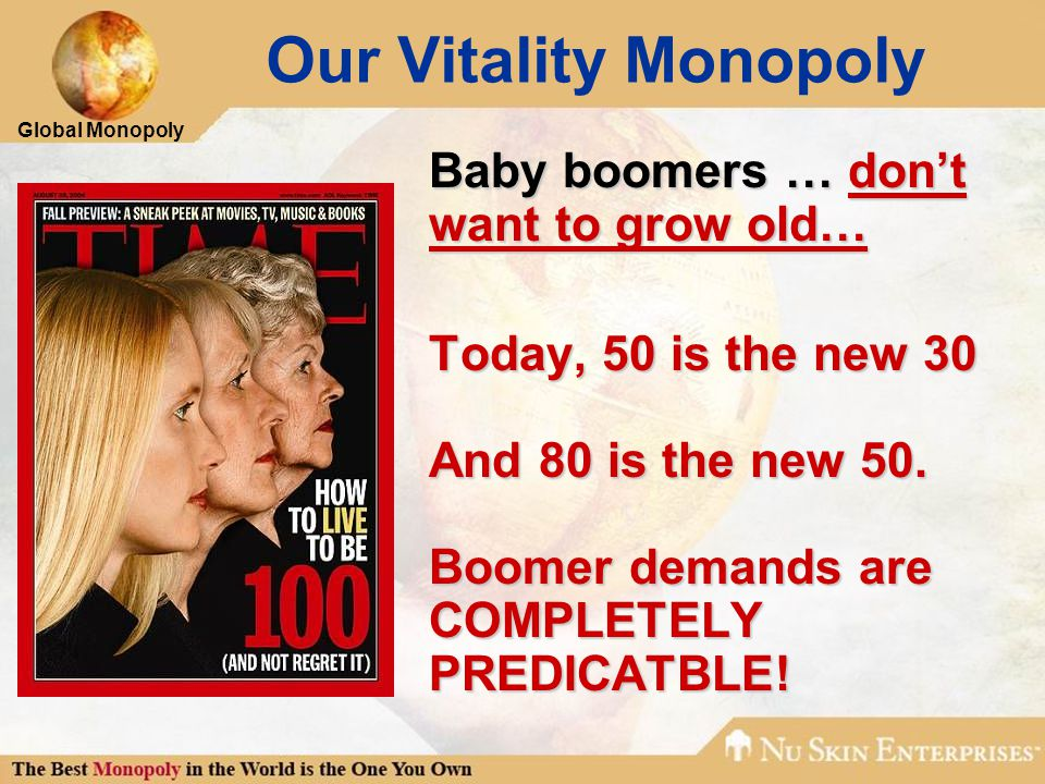 Global Monopoly Our Vitality Monopoly Baby boomers … don't want to grow old… Today, 50 is the new 30 And 80 is the new 50.