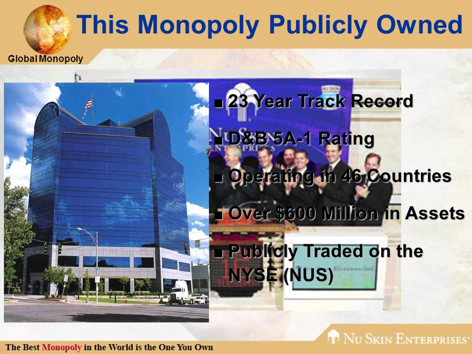 Global Monopoly ■ 23 Year Track Record ■ D&B 5A-1 Rating ■ Operating in 46 Countries ■ Over $600 Million in Assets ■ Publicly Traded on the NYSE (NUS)