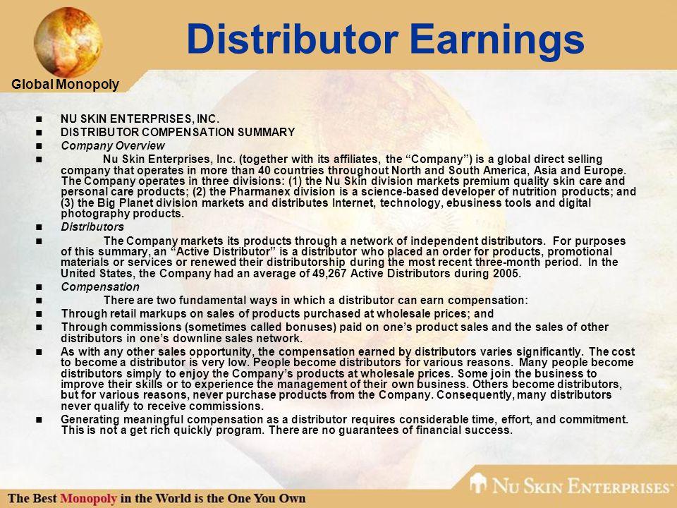 Global Monopoly Distributor Earnings NU SKIN ENTERPRISES, INC. DISTRIBUTOR COMPENSATION SUMMARY Company Overview Nu Skin Enterprises, Inc. (together w