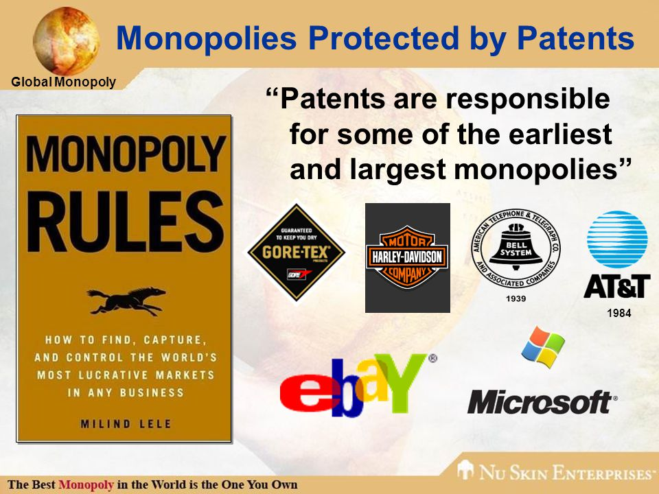 Global Monopoly Monopolies Protected by Patents Patents are responsible for some of the earliest and largest monopolies 1984