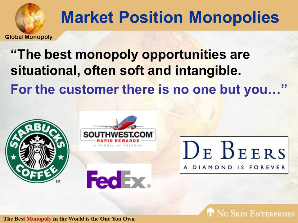 Global Monopoly Market Position Monopolies The best monopoly opportunities are situational, often soft and intangible.