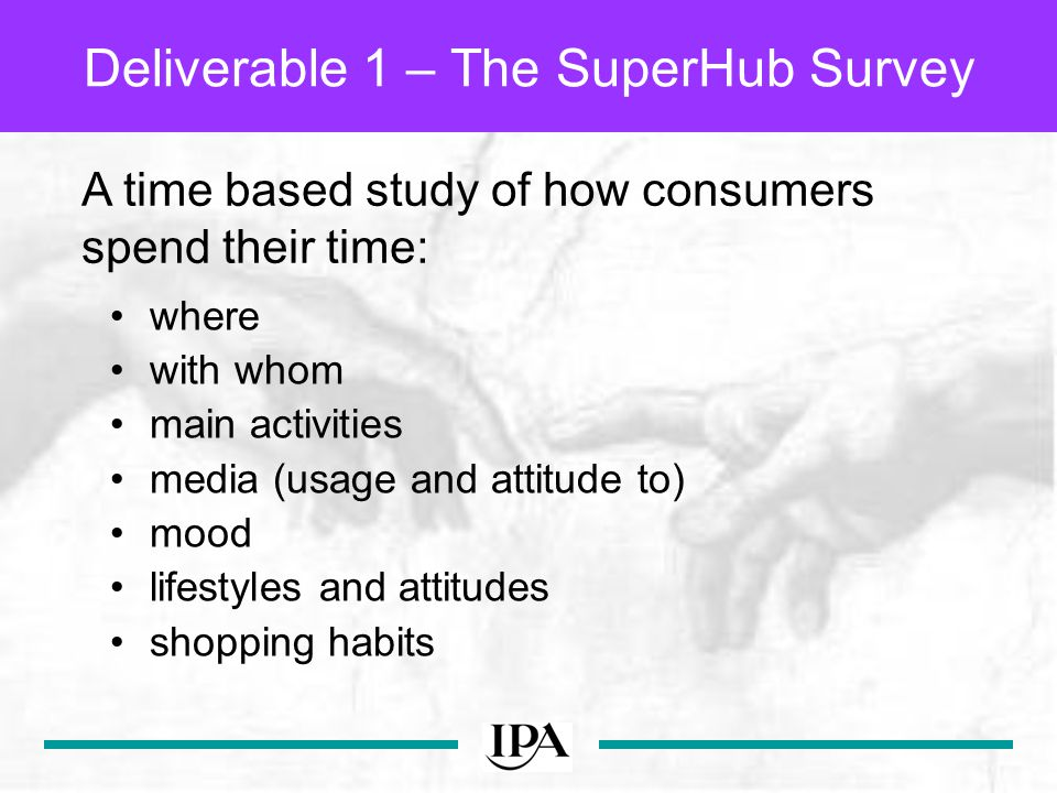 where with whom main activities media (usage and attitude to) mood lifestyles and attitudes shopping habits Deliverable 1 – The SuperHub Survey A time based study of how consumers spend their time: