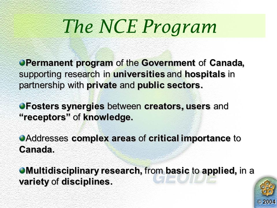 © 2004 Permanent program of the Government of Canada, supporting research in universities and hospitals in partnership with private and public sectors.