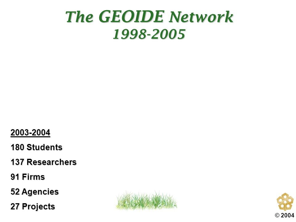 © 2004 GEOIDE R&D Program Thrusts Geomatics Value Chain and the GEOIDE Research Program Delivery Framework THE GOAL: V a l u e C h a i n Instr ume nt and Com pone nt Build ers 1 Dat a Col lec tor s 2 Prima ry Explo itatio n 3 Syste m Integr ation & Decis ion Supp ort 5 4 Secondary Exploitation Sustainable Land & Water Resources Health & Social Science Oceans / Marine Aquatic Infrastructure & Utilities Forestry Security & Emergencies Mining & Oil & Gas Social Science Environmental Monitoring Health / Epidemiology Agriculture Transportation Transport & Disaster Management Markets / Sectors / Clients Integrated Market-Driven Commercializable Implementable Research Outcomes