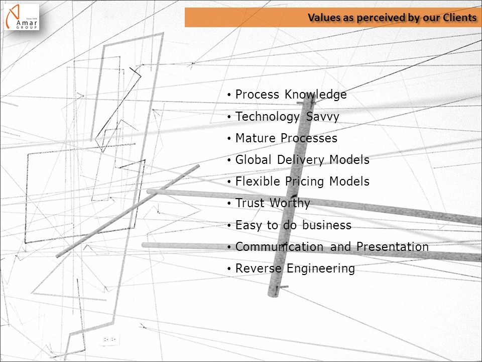 Values as perceived by our Clients Process Knowledge Technology Savvy Mature Processes Global Delivery Models Flexible Pricing Models Trust Worthy Easy to do business Communication and Presentation Reverse Engineering