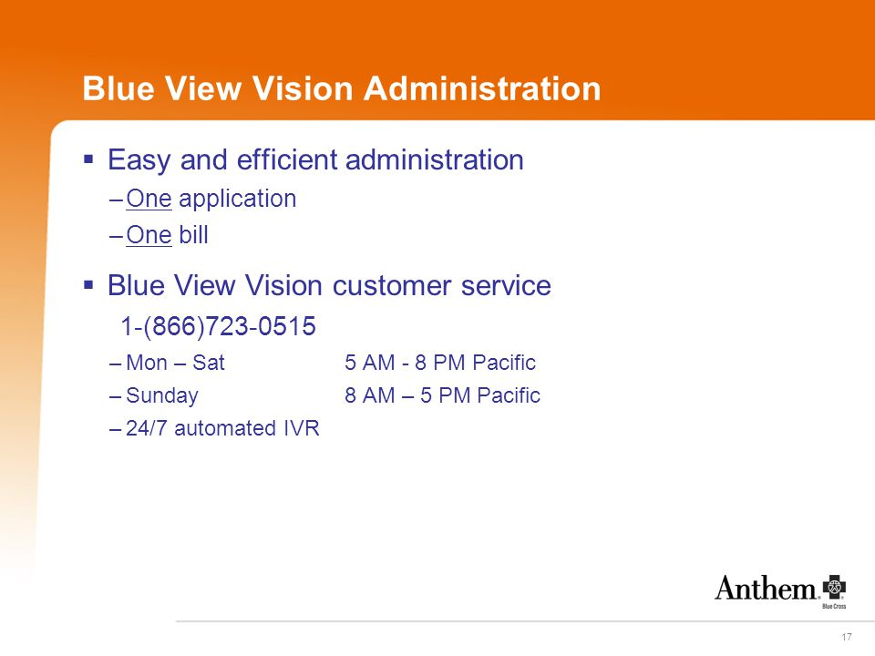 17 Blue View Vision Administration  Easy and efficient administration –One application –One bill  Blue View Vision customer service 1-(866)723-0515
