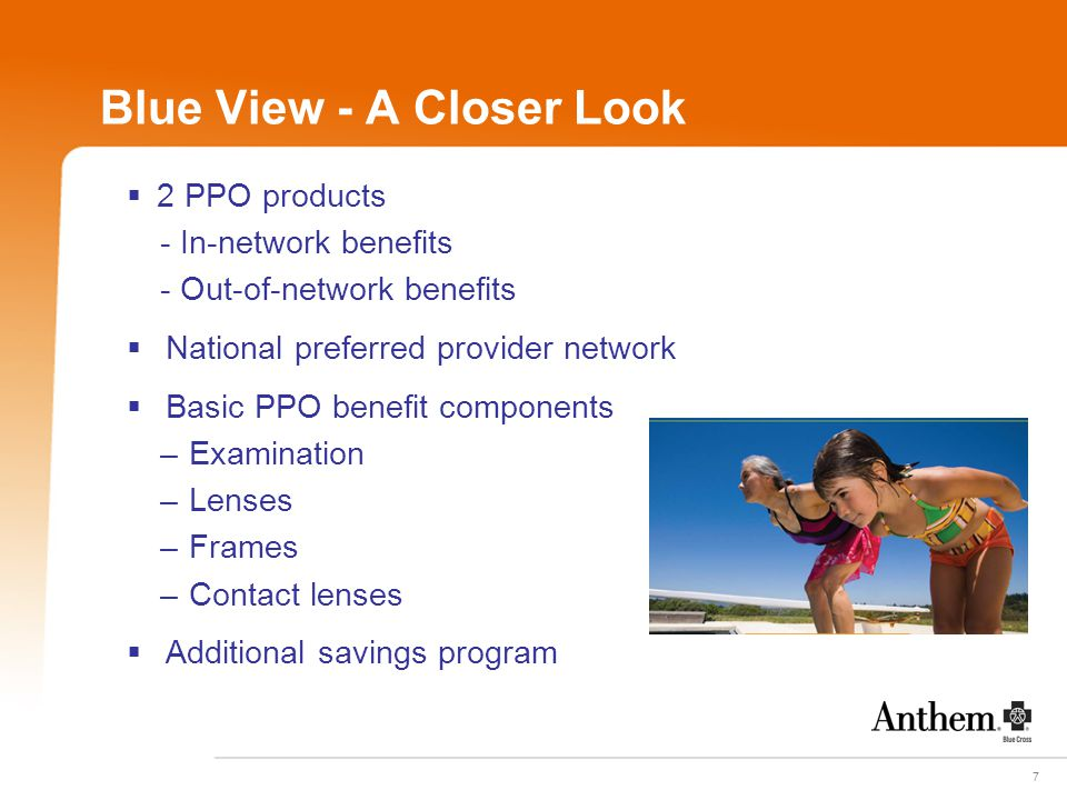7 Blue View - A Closer Look  2 PPO products - In-network benefits - Out-of-network benefits  National preferred provider network  Basic PPO benefit