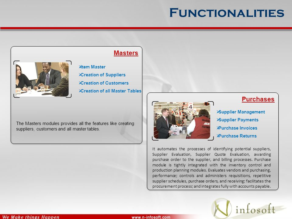 Functionalities Masters The Masters modules provides all the features like creating suppliers, customers and all master tables.  Item Master  Creati