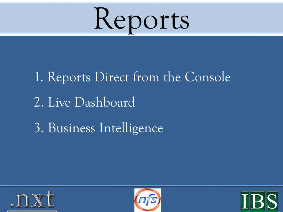 Reports Direct from the Console Retail Sales Report
