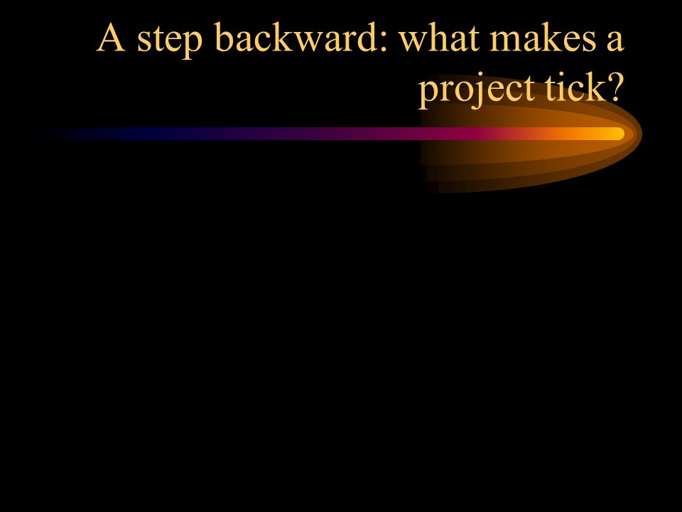 A step backward: what makes a project tick