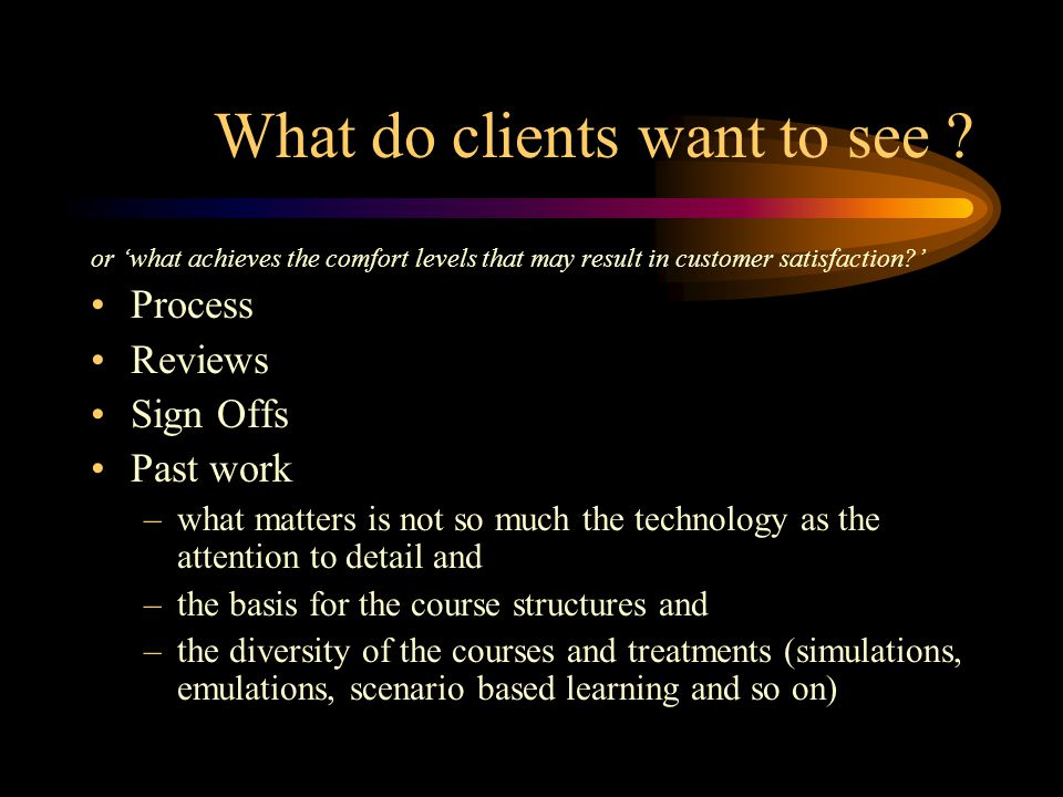 What do clients want to see .